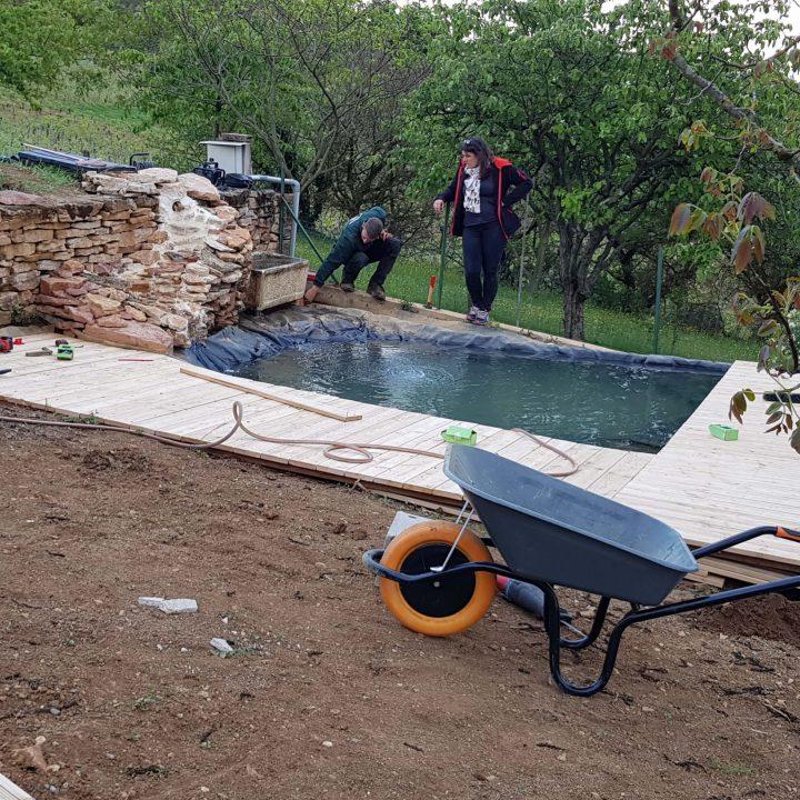 aménagement bassin terrasse éclairage plantes à La-Roche-Vineuse