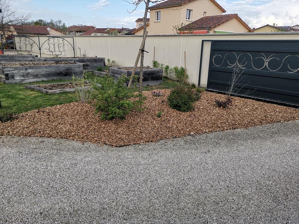 création de massif pose de paillage plaquette forestière à Cormoranche-sur-Saône bis3